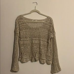 Abercrombie open knit bell sleeve crop sweater